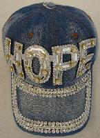 Denim Hat with Bling [HOPE] Silver